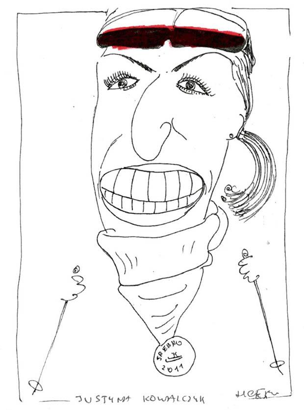 Rys. Henryk Cebula - karykatura Justyny Kowalczyk