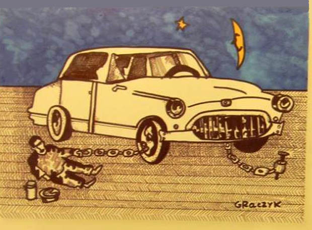 "Rys. Michał Graczyk - praca z katalogu ""Love at the wheel"""