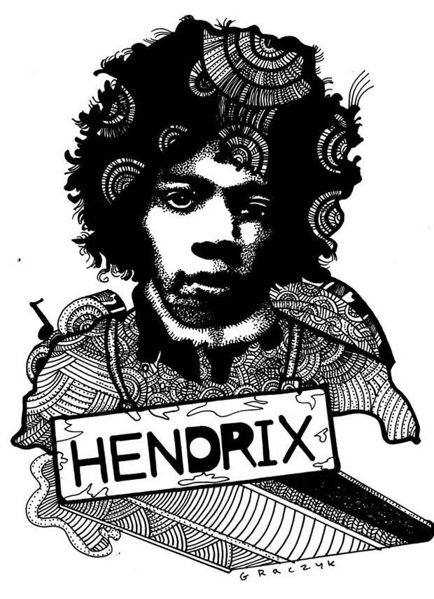 Jimi Hendrix - rys. Michał Graczyk