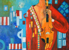 MIROSLAW HAJNOS - Violinist, oil on canvas