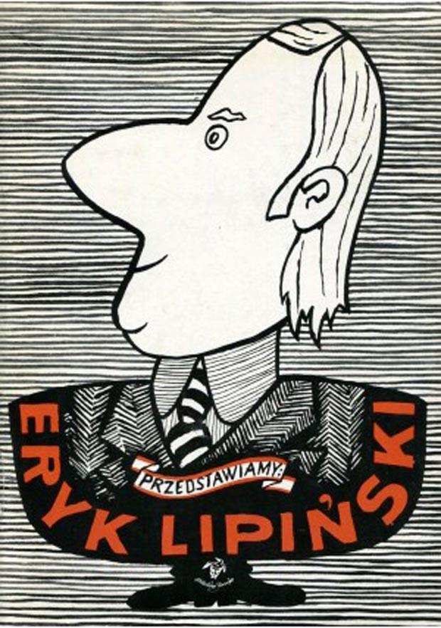 """Rys. Eryk Lipiński - autokarykatura na obwolucie okolicznościowego albumu wydanego przez wydawnictwo """"Iskry"""" w latach 80-tych ubiegłego wieku"""