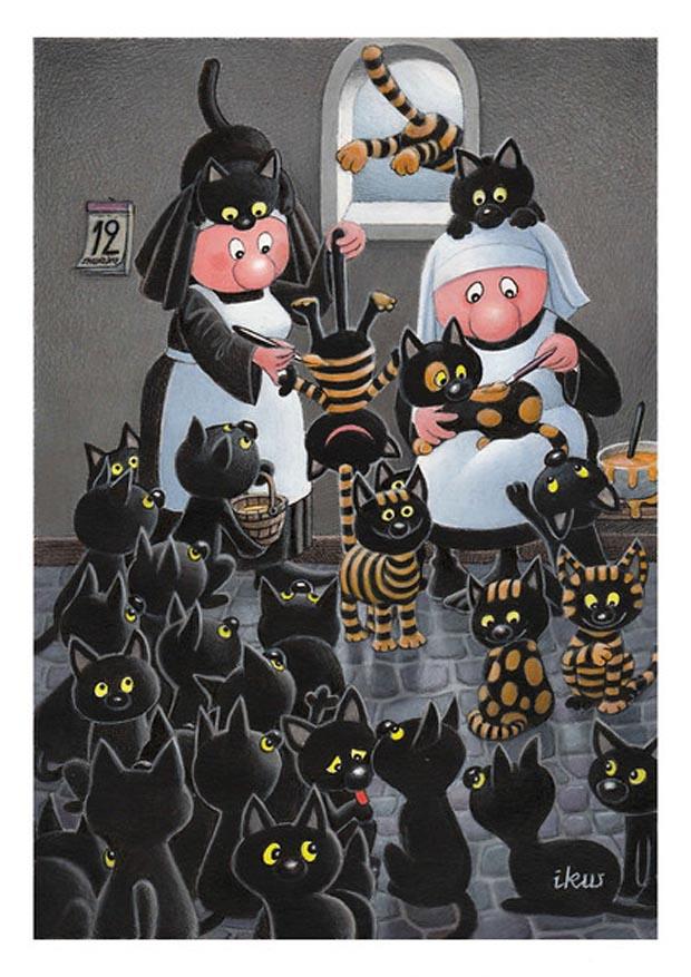 Rys. Izabela Kowalska-Wieczorek - praca zgłoszona na konkurs 13. The HumoDEVA International Cartoon Contest