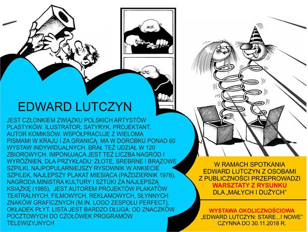 Fragment afisza anonsującego wystawę Edwarda Lutczyna