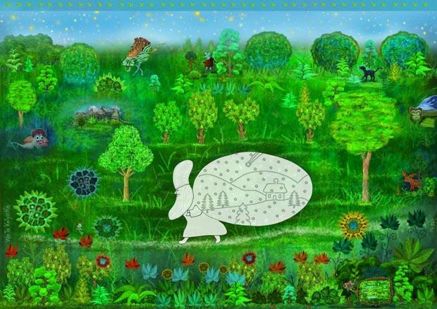 """Rys. Wojciech Kołyszko (Gdańsk) – grafik, rysownik, ilustrator, malarz. Autor wielu książek oraz edukacyjnych projektów (również multimedialnych) dla dzieci i młodzieży. Dwa lata temu debiutował autorskim filmem animowanym """"Fikotko wróć"""" (Studio Munka/ Serafiński Studio)."""