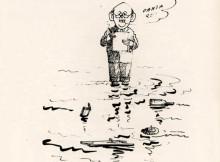 "Rys. Aleksander Wołos - praca z katalogu Konkursu na Rysunek Satyryczny ""Prasa"" Zielona Góra 1986"