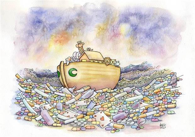 4. International Green Crescent Cartoon Contest - 100. Year Special Prize: Hakkı Uslu - Turkey