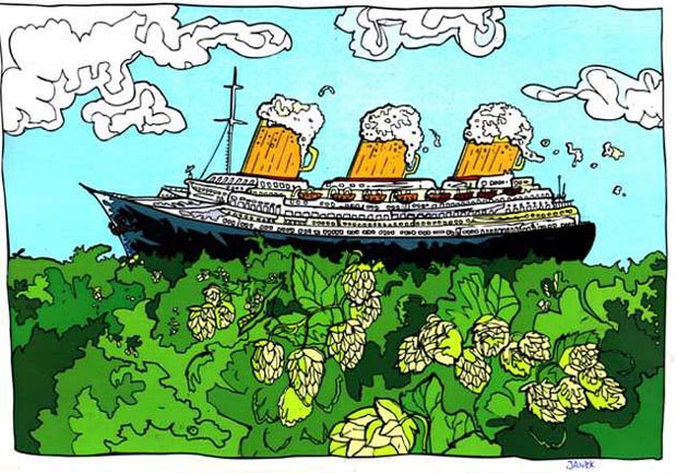 """26. International Cartoon Competition on the Topic of Beer """"The Golden Keg 2020""""  - 1st Prize: Janek JANOWSKI / Poland"""